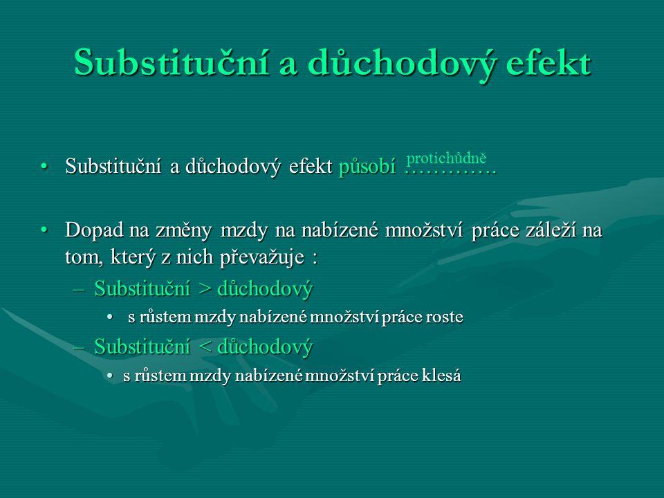 Substituční a důchodový efekt Substituční a důchodový efekt působí ………….Substituční a důchodový efekt působí ………….