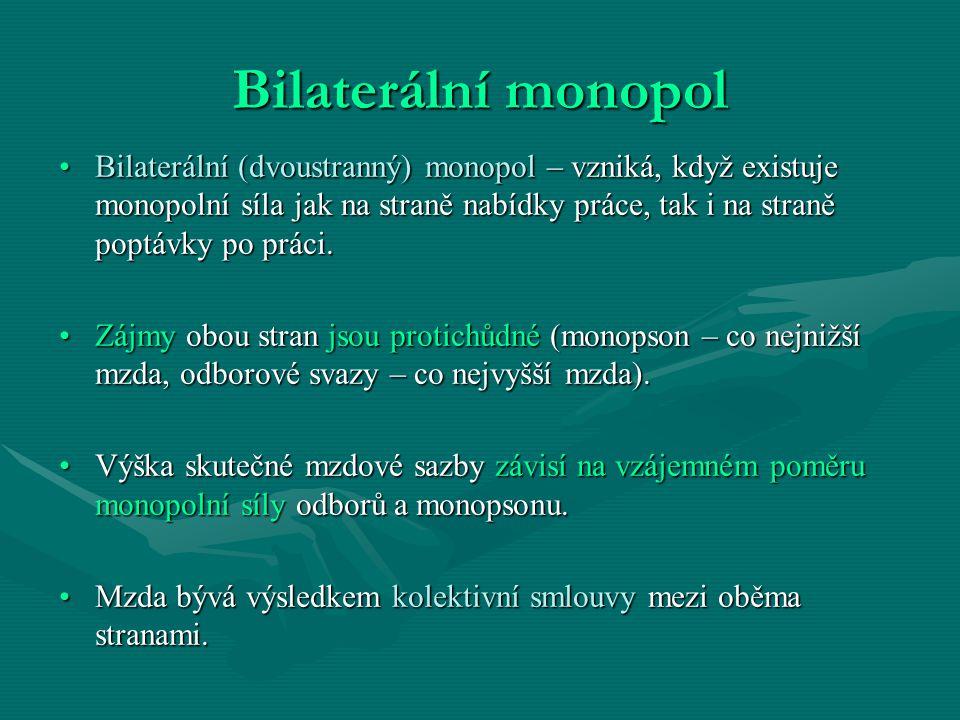 Bilaterální monopol Bilaterální (dvoustranný) monopol – vzniká, když existuje monopolní síla jak na straně nabídky práce, tak i na straně poptávky po práci.Bilaterální (dvoustranný) monopol – vzniká, když existuje monopolní síla jak na straně nabídky práce, tak i na straně poptávky po práci.