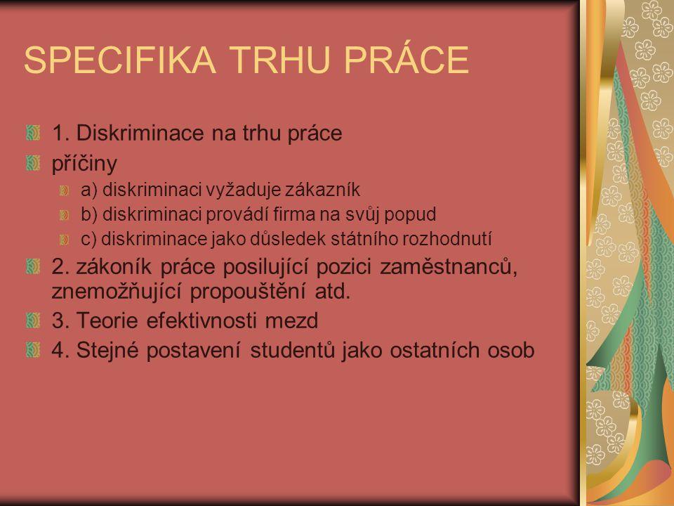 SPECIFIKA TRHU PRÁCE 1.