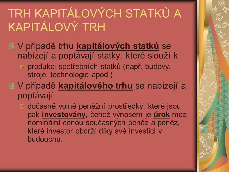 TRH KAPITÁLOVÝCH STATKŮ A KAPITÁLOVÝ TRH V případě trhu kapitálových statků se nabízejí a poptávají statky, které slouží k produkci spotřebních statků (např.