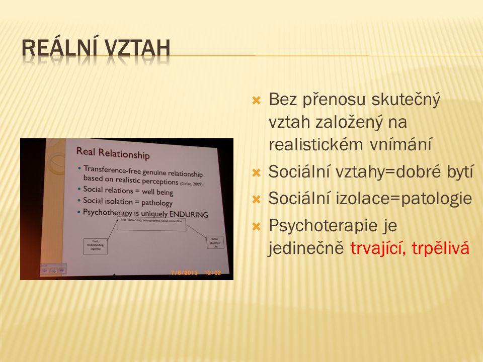  Bez přenosu skutečný vztah založený na realistickém vnímání  Sociální vztahy=dobré bytí  Sociální izolace=patologie  Psychoterapie je jedinečně t