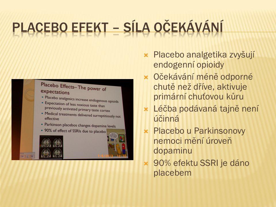  Placebo analgetika zvyšují endogenní opioidy  Očekávání méně odporné chutě než dříve, aktivuje primární chuťovou kůru  Léčba podávaná tajně není ú