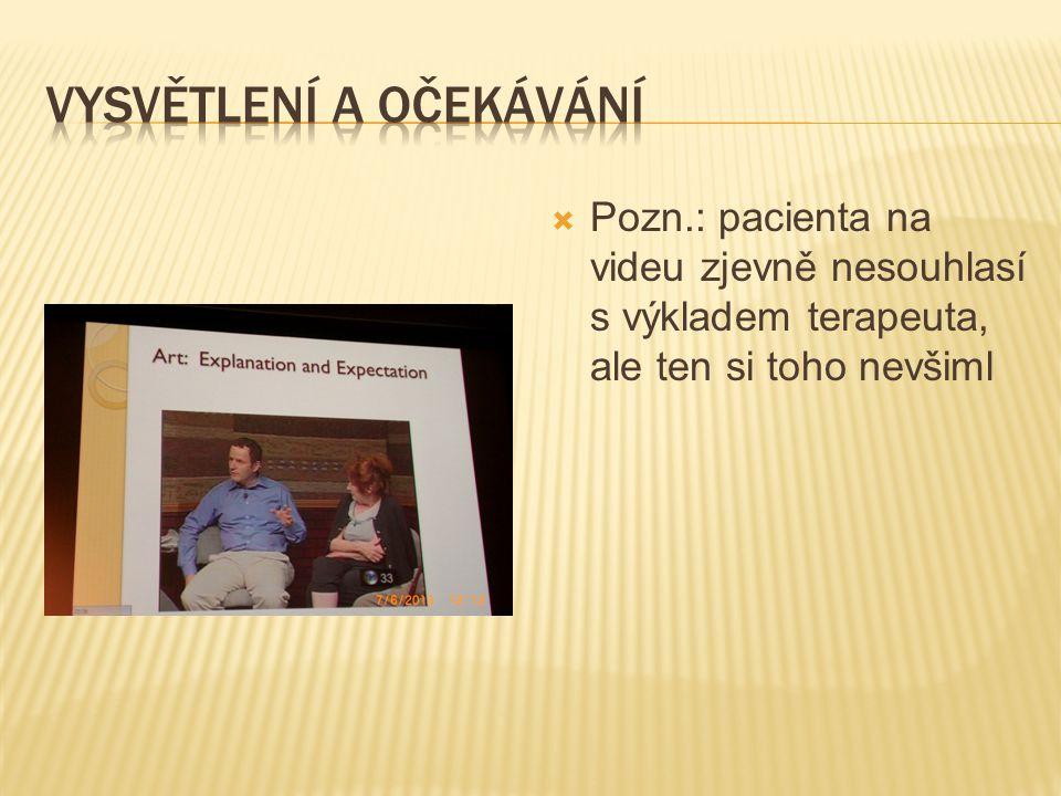  Pozn.: pacienta na videu zjevně nesouhlasí s výkladem terapeuta, ale ten si toho nevšiml