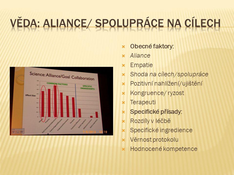  Obecné faktory:  Aliance  Empatie  Shoda na cílech/spolupráce  Pozitivní nahlížení/ujištění  Kongruence/ ryzost  Terapeuti  Specifické přísad