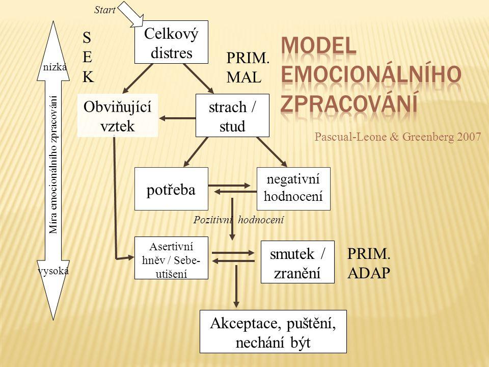  Sekundární distres  Primární maladaptivní emoce  Potřeba  Primární adaptivní emoce  Sekundární emoce.