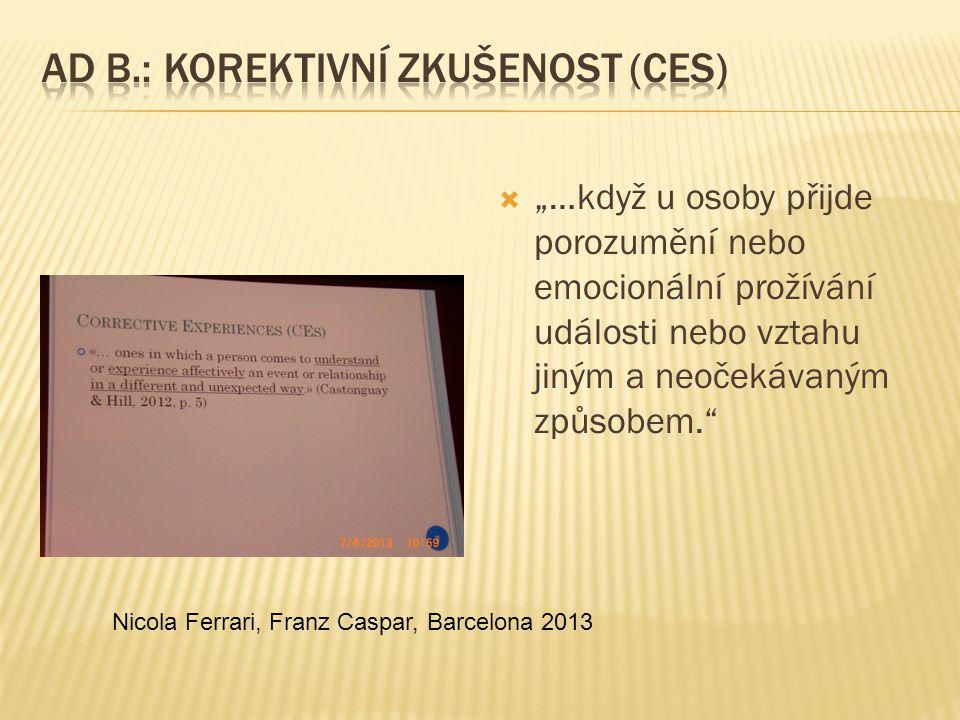  Obecná psychologie  Základní kognitivní věda  Může být aplikovaná na každou formu psychoterapie Nicola Ferrari, Franz Caspar, Barcelona 2013