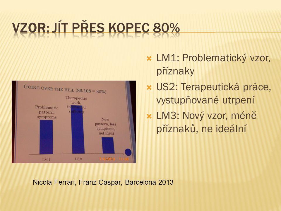  LM1: Problematický vzor, příznaky  US2: Terapeutická práce, vystupňované utrpení  LM3: Nový vzor, méně příznaků, ne ideální Nicola Ferrari, Franz