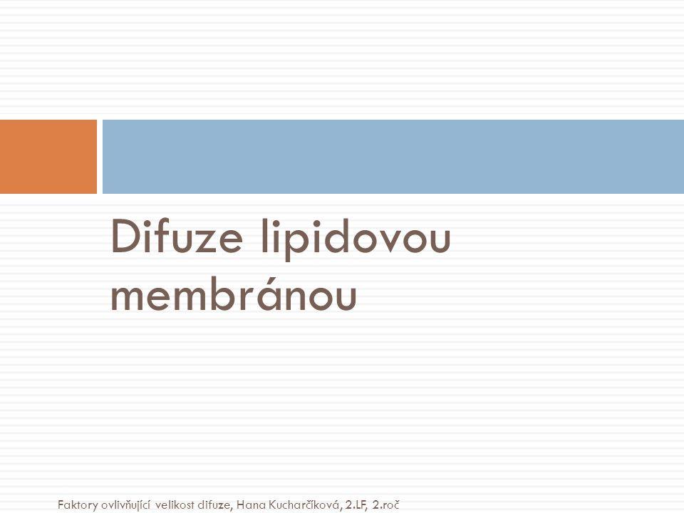 Difuze lipidovou membránou Faktory ovlivňující velikost difuze, Hana Kucharčíková, 2.LF, 2.roč