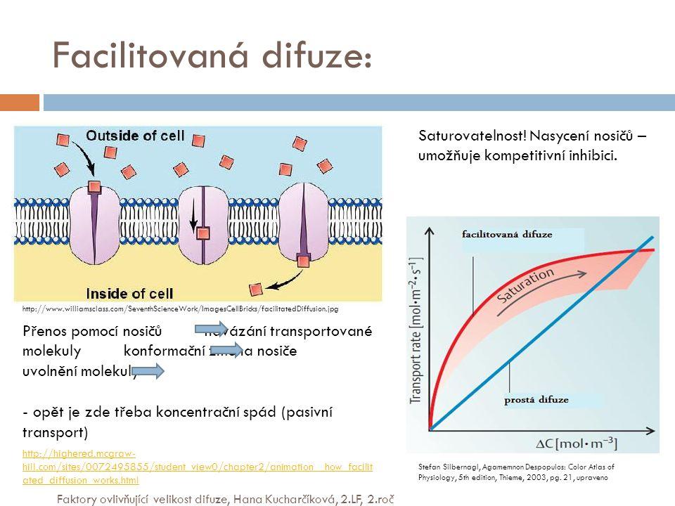 Facilitovaná difuze: Přenos pomocí nosičů navázání transportované molekuly konformační změna nosiče uvolnění molekuly - opět je zde třeba koncentrační spád (pasivní transport) Saturovatelnost.