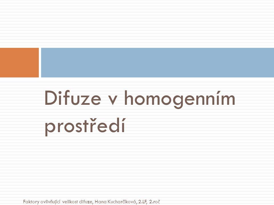 Difuze v homogenním prostředí Faktory ovlivňující velikost difuze, Hana Kucharčíková, 2.LF, 2.roč