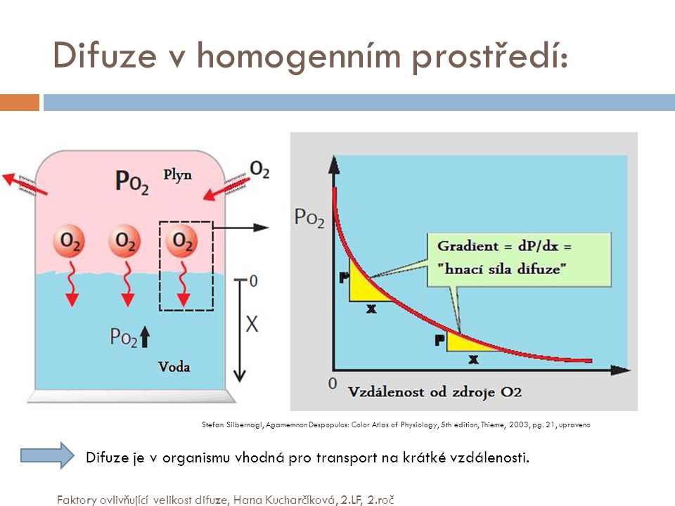 Difuze v homogenním prostředí: Stefan Silbernagl, Agamemnon Despopulos: Color Atlas of Physiology, 5th edition, Thieme, 2003, pg. 21, upraveno Difuze