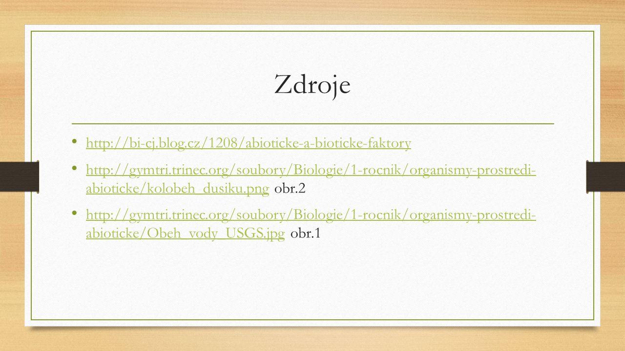 Zdroje http://bi-cj.blog.cz/1208/abioticke-a-bioticke-faktory http://gymtri.trinec.org/soubory/Biologie/1-rocnik/organismy-prostredi- abioticke/kolobe