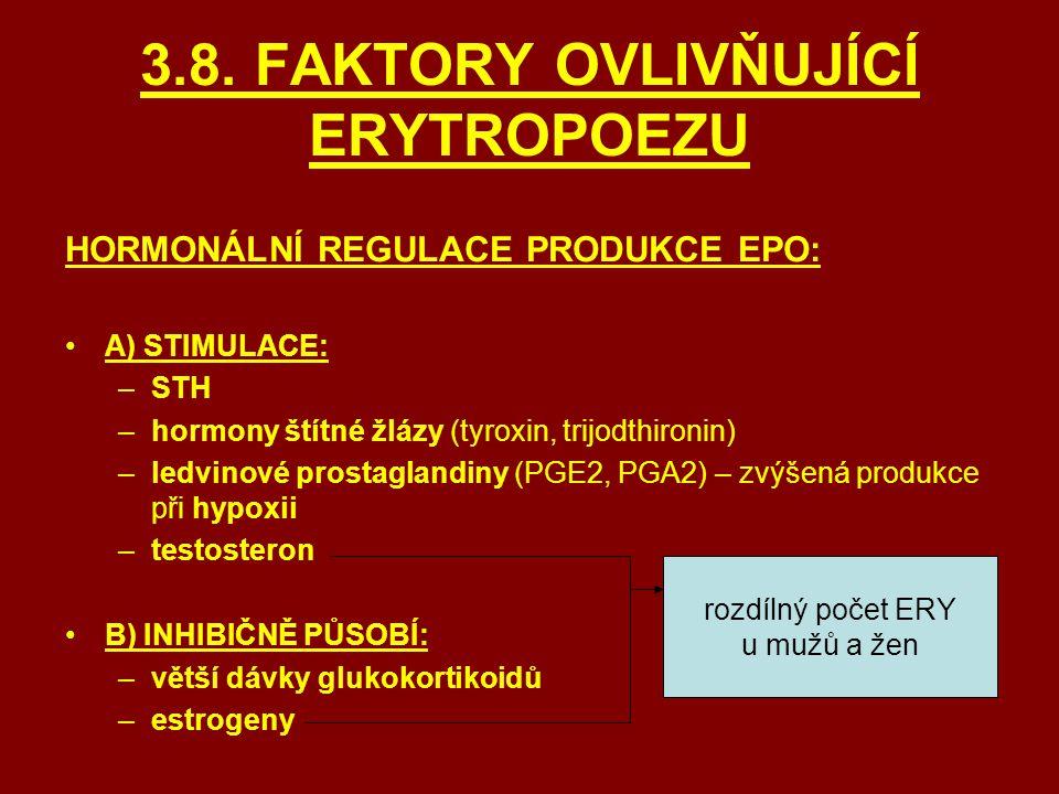 3.8. FAKTORY OVLIVŇUJÍCÍ ERYTROPOEZU HORMONÁLNÍ REGULACE PRODUKCE EPO: A) STIMULACE: –STH –hormony štítné žlázy (tyroxin, trijodthironin) –ledvinové p