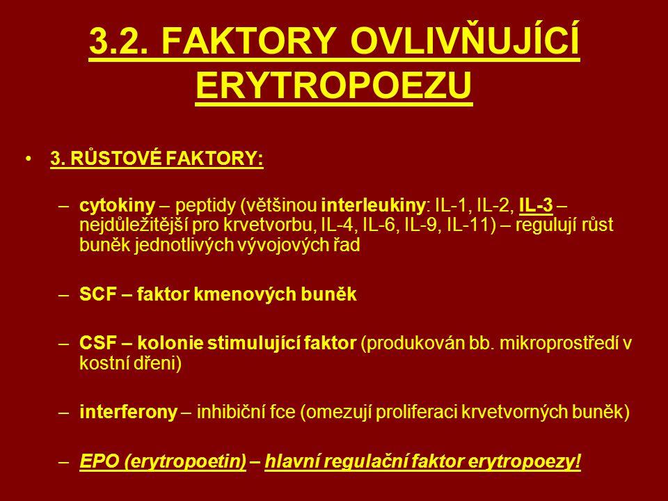 3.2. FAKTORY OVLIVŇUJÍCÍ ERYTROPOEZU 3. RŮSTOVÉ FAKTORY: –cytokiny – peptidy (většinou interleukiny: IL-1, IL-2, IL-3 – nejdůležitější pro krvetvorbu,