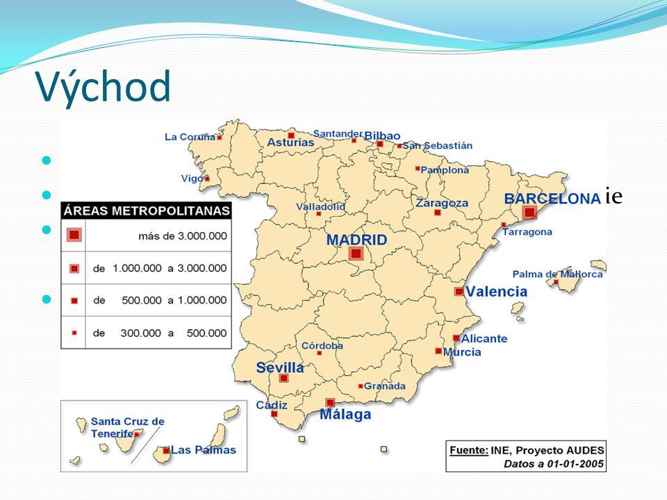 Východ hospodářsky nejvyspělejší oblast dopravní strojírenství (Seat), textilní pr. a petrochemie zemědělství – vinařství a zelinářství hlavní centra