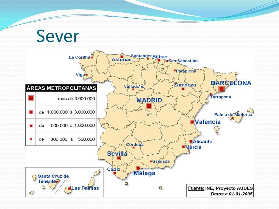 Střed nejrozsáhlejší region významná zemědělská oblast úrodná Aragonská nížina produkce obilnin, luštěnin a vína v horských oblastech chov ovcí hlavní centrum - Madrid Zaragoza,Valladolid