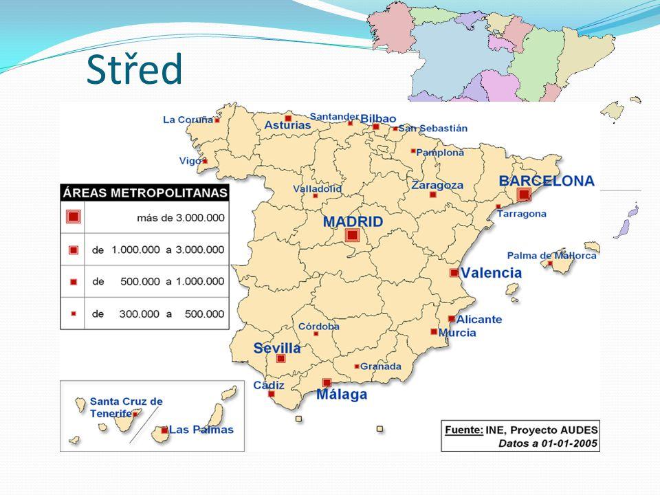 Střed nejrozsáhlejší region významná zemědělská oblast úrodná Aragonská nížina produkce obilnin, luštěnin a vína v horských oblastech chov ovcí hlavní