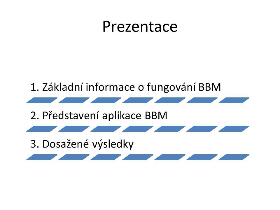 Prezentace 1. Základní informace o fungování BBM 2. Představení aplikace BBM 3. Dosažené výsledky