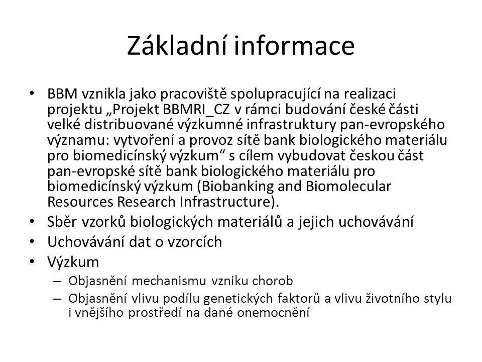 """Základní informace BBM vznikla jako pracoviště spolupracující na realizaci projektu """"Projekt BBMRI_CZ v rámci budování české části velké distribuované výzkumné infrastruktury pan-evropského významu: vytvoření a provoz sítě bank biologického materiálu pro biomedicínský výzkum s cílem vybudovat českou část pan-evropské sítě bank biologického materiálu pro biomedicínský výzkum (Biobanking and Biomolecular Resources Research Infrastructure)."""