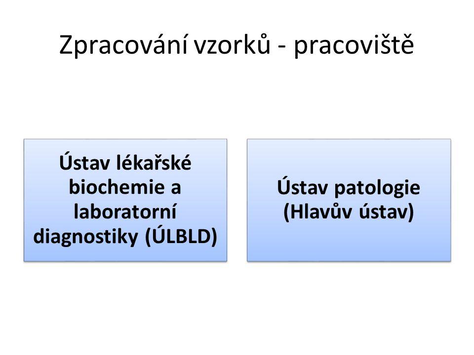 Zpracování vzorků - pracoviště Ústav lékařské biochemie a laboratorní diagnostiky (ÚLBLD) Ústav patologie (Hlavův ústav)