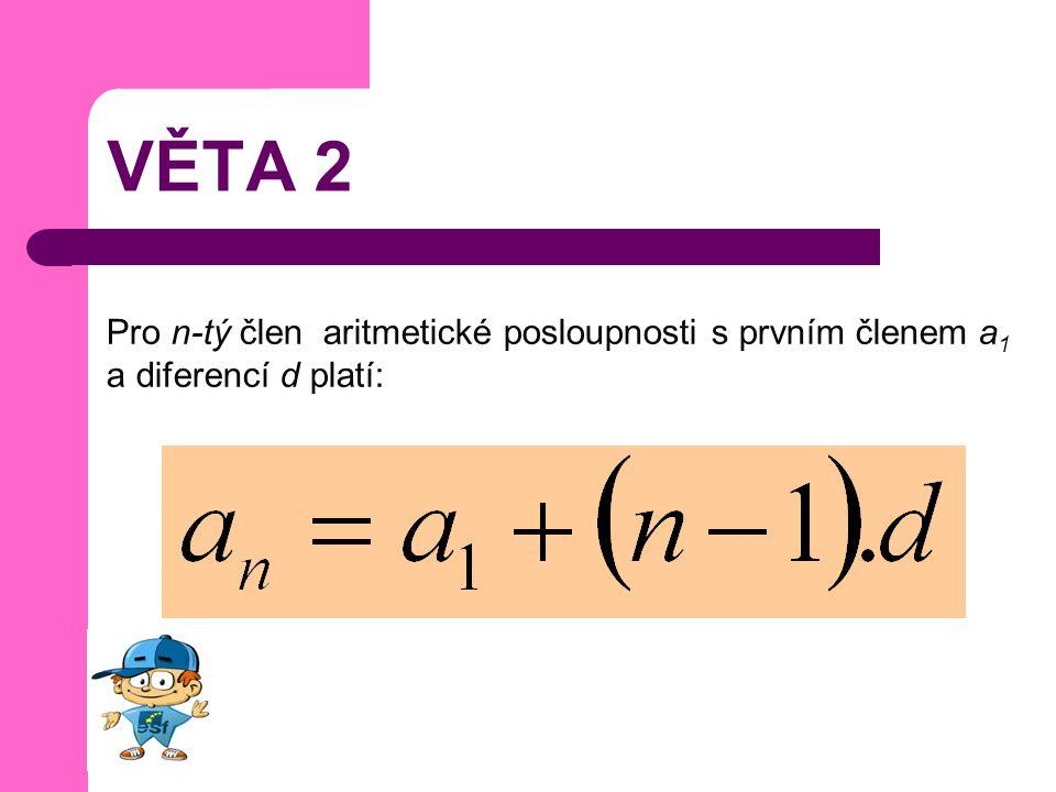 VĚTA 2 Pro n-tý člen aritmetické posloupnosti s prvním členem a 1 a diferencí d platí: