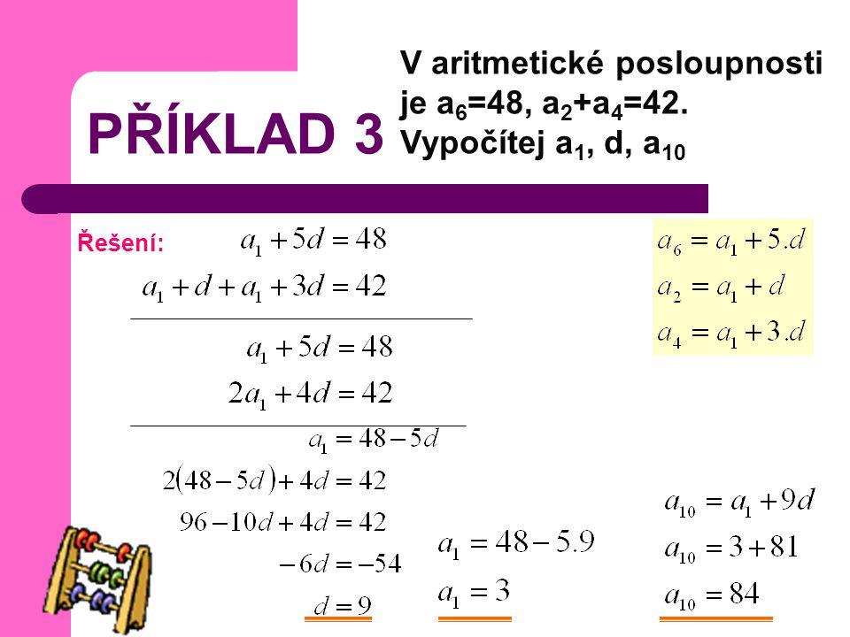 PŘÍKLAD 3 V aritmetické posloupnosti je a 6 =48, a 2 +a 4 =42. Vypočítej a 1, d, a 10 Řešení: