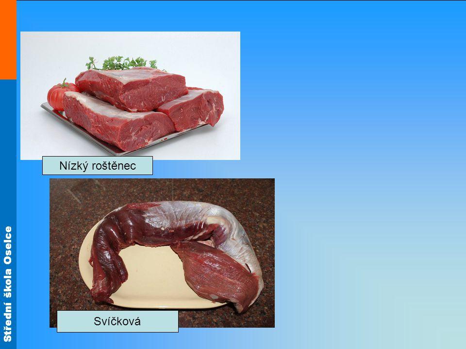 Střední škola Oselce Postup pečení na anglický způsob Předběžně upravené maso osolíme, opepříme, potřeme olejem a necháme odležet asi 2 – 3 hodiny.