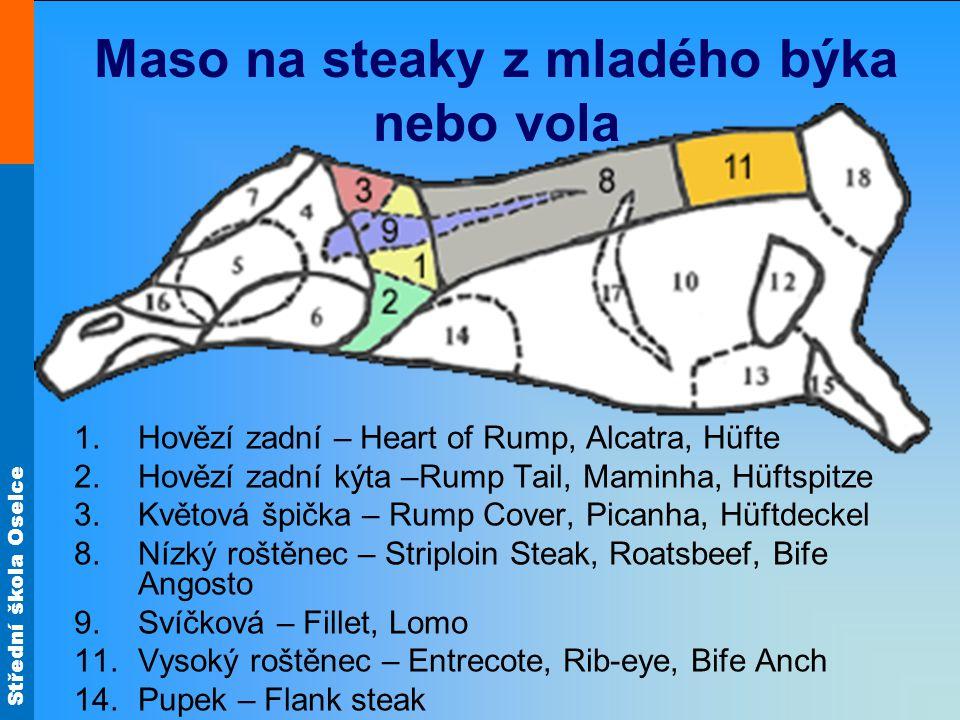 Střední škola Oselce Minutky - steaky Postup pečení: maso předběžně upravíme nakrájíme na plátky zprudka opečeme na malém množství tuku (potřené špekem) a pomaleji dopékáme do masa nepícháme pečené maso vyndáme na předehřátý talíř a necháme chvíli stá aby se šťáva uvolnila do celého masa Podáváme se studenými omáčkami – tatarská, jogurtová s bylinkami, remuládová, brusinková….
