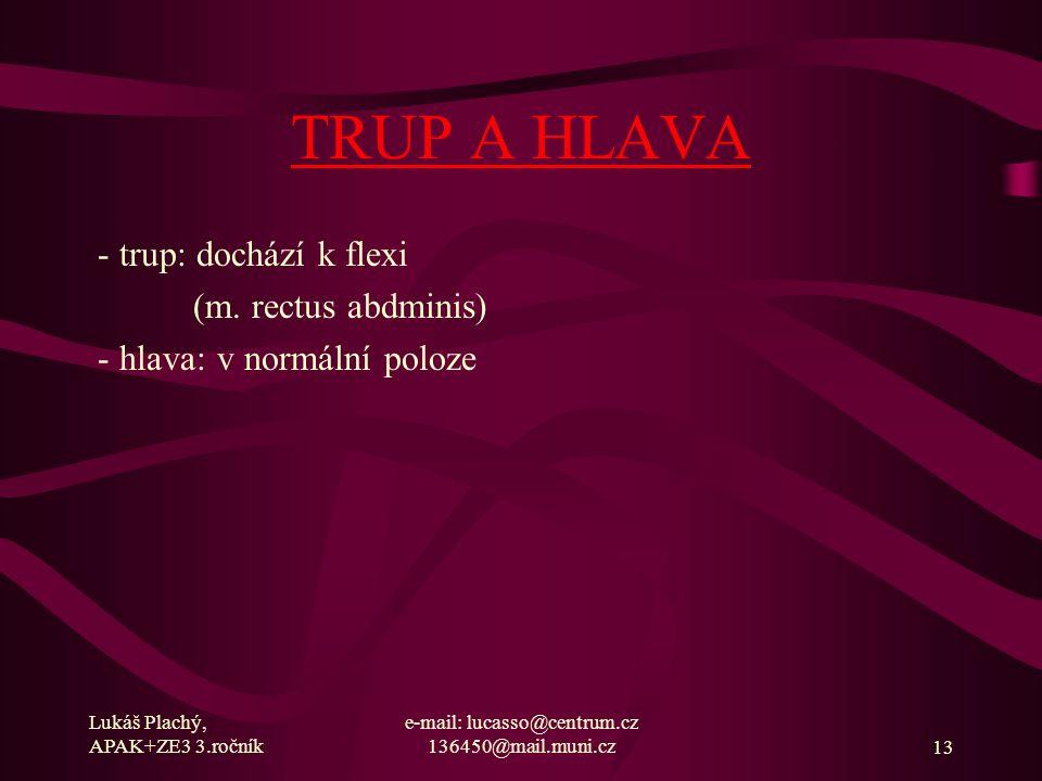 Lukáš Plachý, APAK+ZE3 3.ročník e-mail: lucasso@centrum.cz 136450@mail.muni.cz13 TRUP A HLAVA - trup: dochází k flexi (m. rectus abdminis) - hlava: v