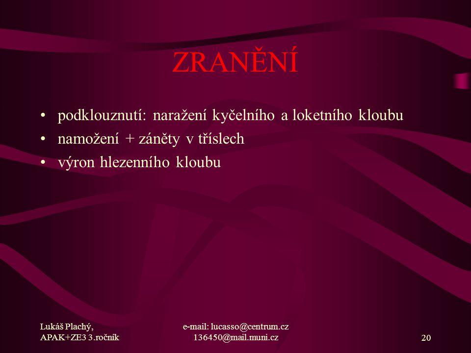 Lukáš Plachý, APAK+ZE3 3.ročník e-mail: lucasso@centrum.cz 136450@mail.muni.cz20 ZRANĚNÍ podklouznutí: naražení kyčelního a loketního kloubu namožení