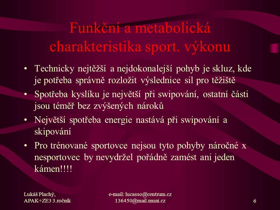 Lukáš Plachý, APAK+ZE3 3.ročník e-mail: lucasso@centrum.cz 136450@mail.muni.cz7 Funkční a metabolická charakteristika sport.