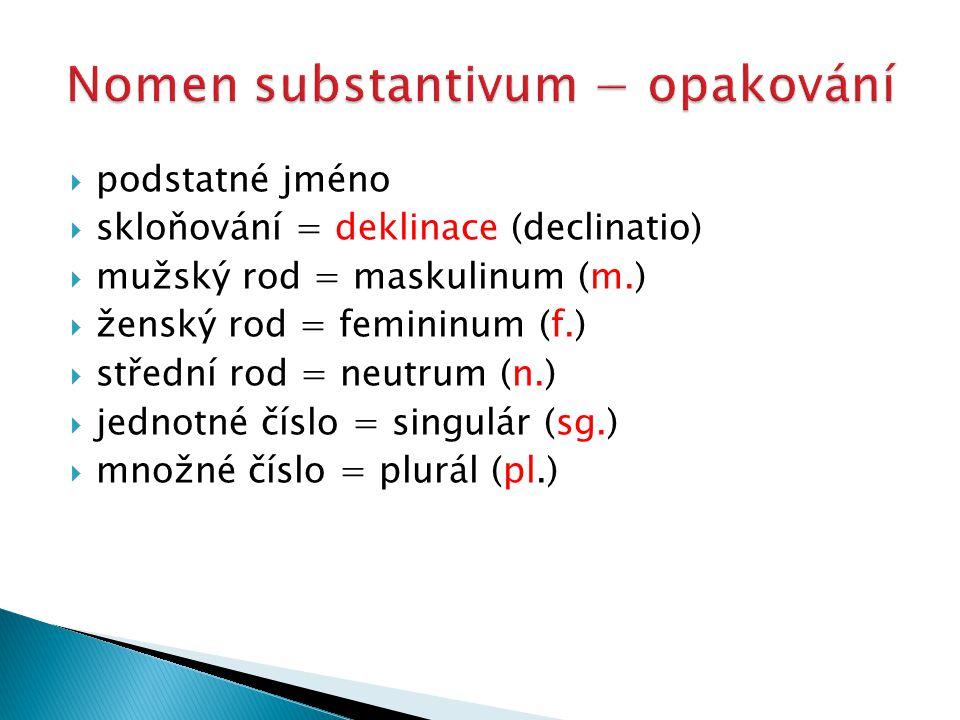  podstatné jméno  skloňování = deklinace (declinatio)  mužský rod = maskulinum (m.)  ženský rod = femininum (f.)  střední rod = neutrum (n.)  jednotné číslo = singulár (sg.)  množné číslo = plurál (pl.)