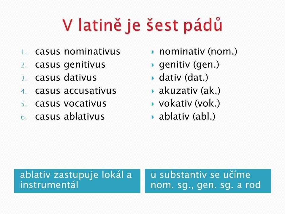 ablativ zastupuje lokál a instrumentál u substantiv se učíme nom.