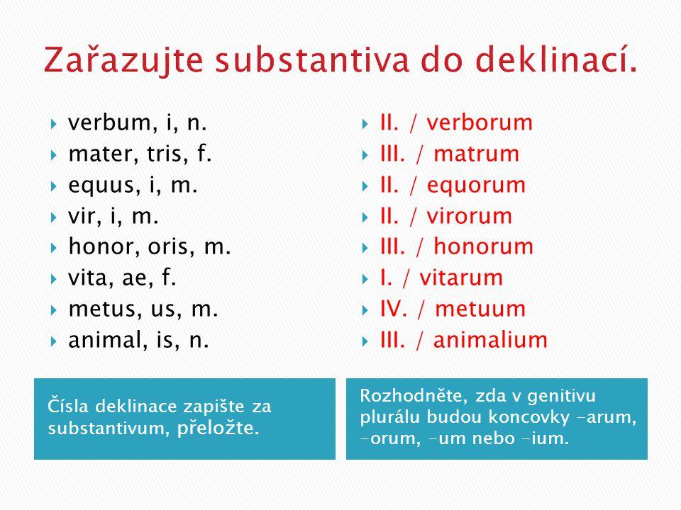 Čísla deklinace zapište za substantivum, přeložte.