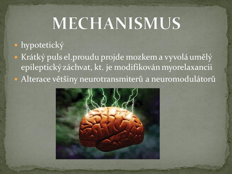 hypotetický Krátký puls el.proudu projde mozkem a vyvolá umělý epileptický záchvat, kt. je modifikován myorelaxancii Alterace většiny neurotransmiterů