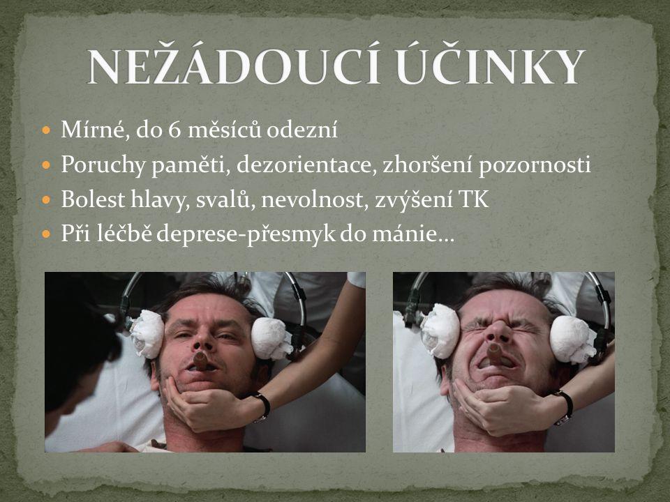 Mírné, do 6 měsíců odezní Poruchy paměti, dezorientace, zhoršení pozornosti Bolest hlavy, svalů, nevolnost, zvýšení TK Při léčbě deprese-přesmyk do má