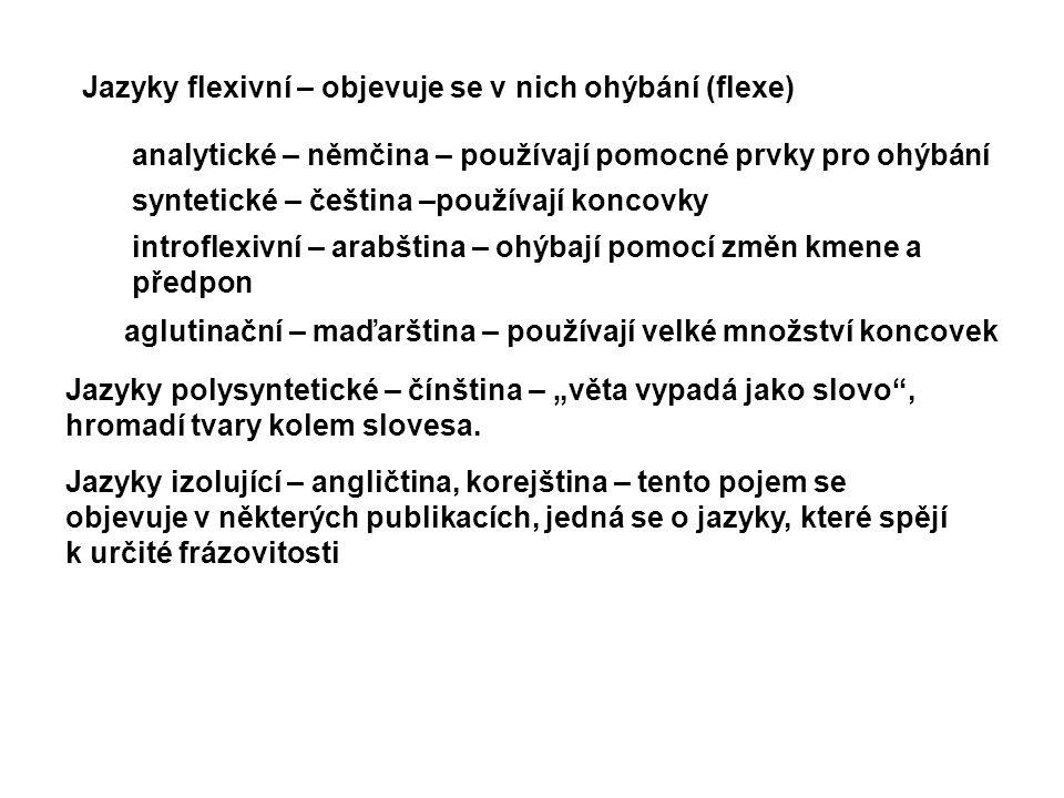 Jazyky flexivní – objevuje se v nich ohýbání (flexe) analytické – němčina – používají pomocné prvky pro ohýbání syntetické – čeština –používají koncov