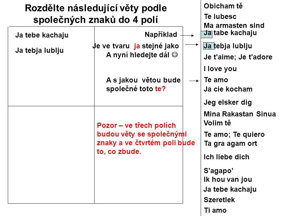 Rozdělte následující věty podle společných znaků do 4 polí A s jakou větou bude společné toto te? Ja tebe kachaju Ja tebja lublju Například Je ve tvar
