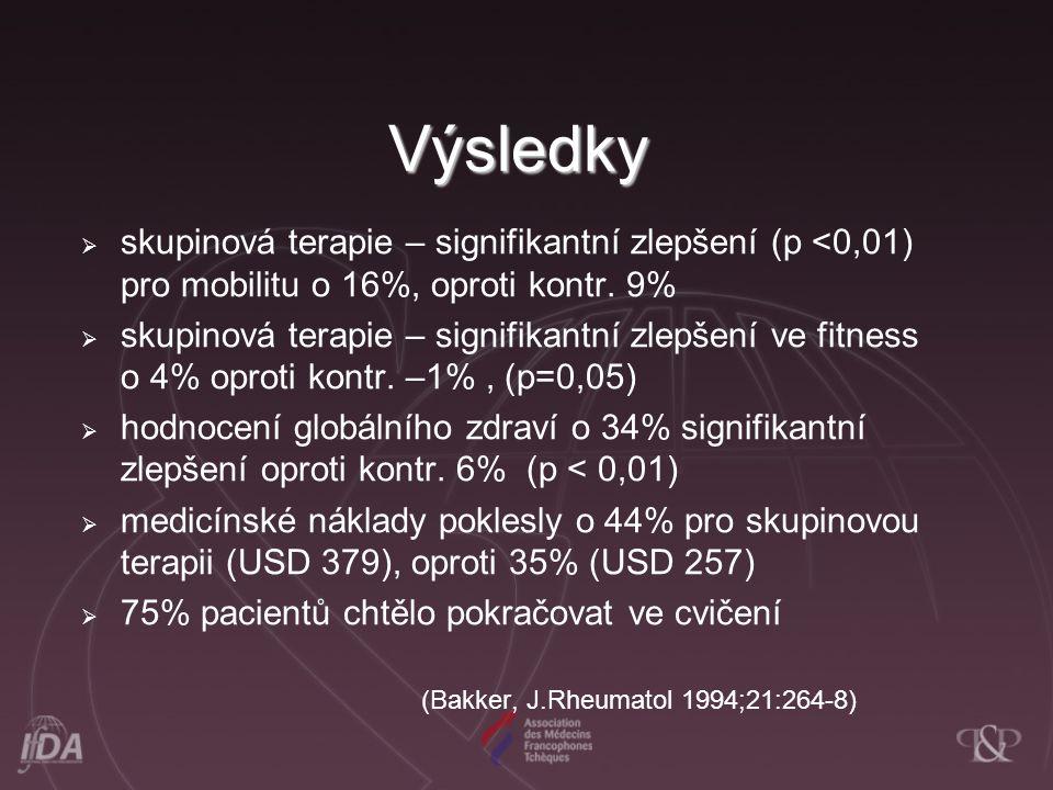 Výsledky  skupinová terapie – signifikantní zlepšení (p <0,01) pro mobilitu o 16%, oproti kontr. 9%  skupinová terapie – signifikantní zlepšení ve f