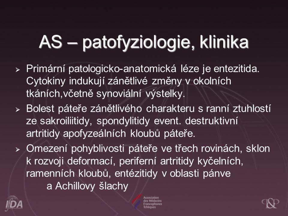 AS – patofyziologie, klinika  Primární patologicko-anatomická léze je entezitida. Cytokiny indukují zánětlivé změny v okolních tkáních,včetně synoviá