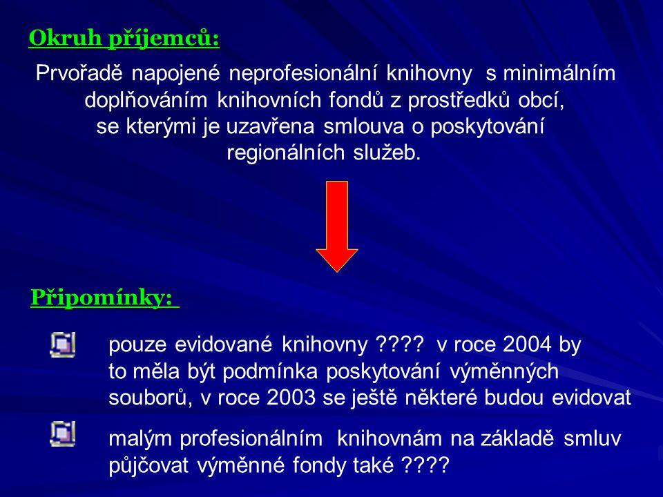 Okruh příjemců: Prvořadě napojené neprofesionální knihovny s minimálním doplňováním knihovních fondů z prostředků obcí, se kterými je uzavřena smlouva o poskytování regionálních služeb.