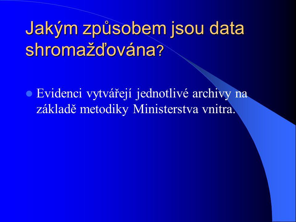 Jakým způsobem jsou data shromažďována ? Evidenci vytvářejí jednotlivé archivy na základě metodiky Ministerstva vnitra.