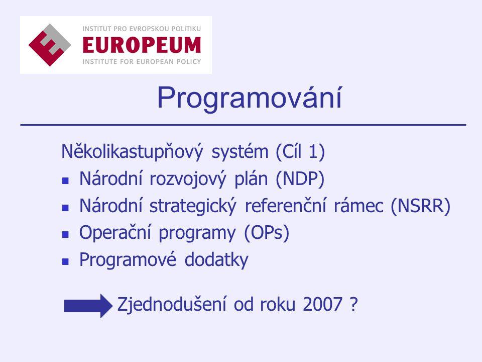 Programování Několikastupňový systém (Cíl 1) Národní rozvojový plán (NDP) Národní strategický referenční rámec (NSRR) Operační programy (OPs) Programové dodatky Zjednodušení od roku 2007 ?