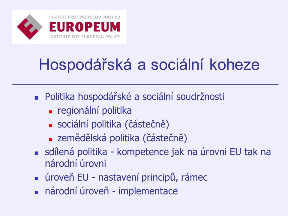 Hospodářská a sociální koheze Politika hospodářské a sociální soudržnosti regionální politika sociální politika (částečně) zemědělská politika (částečně) sdílená politika - kompetence jak na úrovni EU tak na národní úrovni úroveň EU - nastavení principů, rámec národní úroveň - implementace