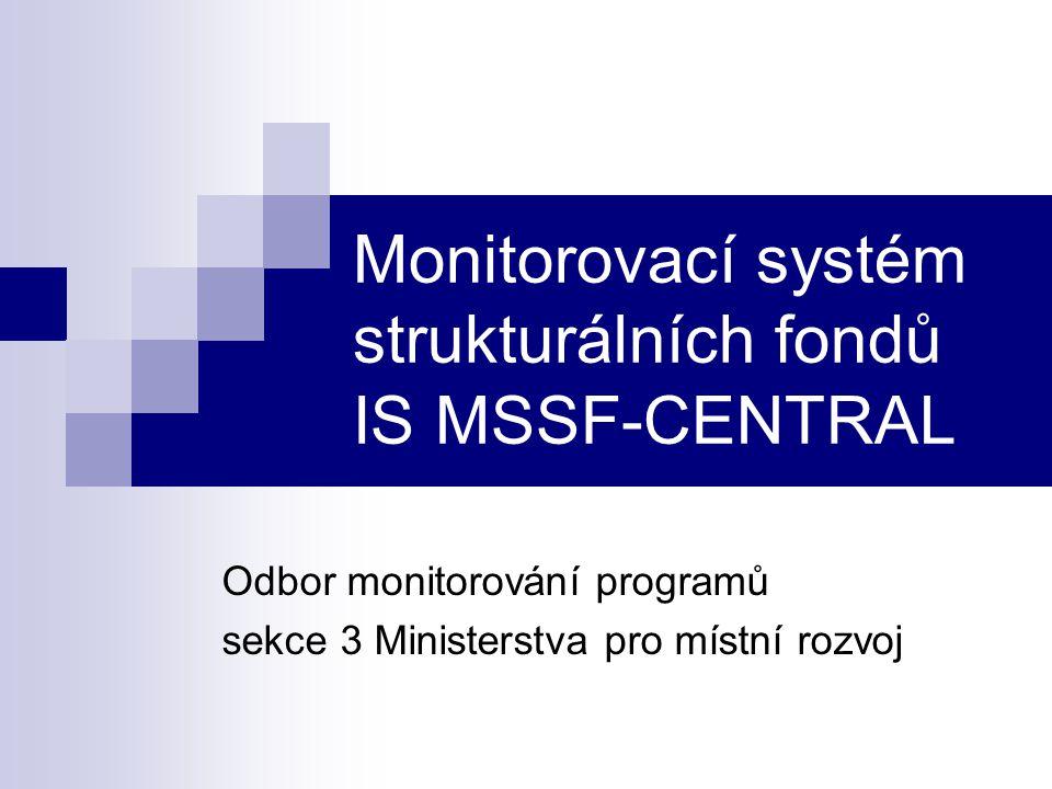Vývoj IS MSSF-CENTRAL od 6/2001 do 8/2003 Akceptace IS MSSF-CENTRAL (Hodnotící komise MSSF- zástupci všech Řídících orgánů) 9/2003- 10/2003 Rutinní provoz IS MSSF-CENTRAL od 11/2003 Historie IS MSSF-CENTRAL