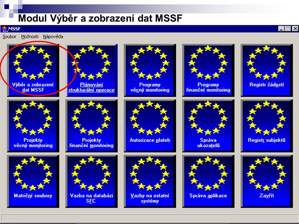 19 Modul Výběr a zobrazení dat MSSF