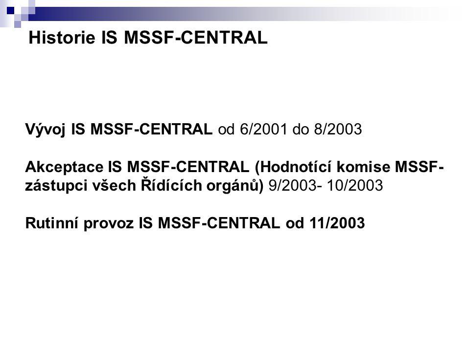 Vývoj IS MSSF-CENTRAL od 6/2001 do 8/2003 Akceptace IS MSSF-CENTRAL (Hodnotící komise MSSF- zástupci všech Řídících orgánů) 9/2003- 10/2003 Rutinní pr
