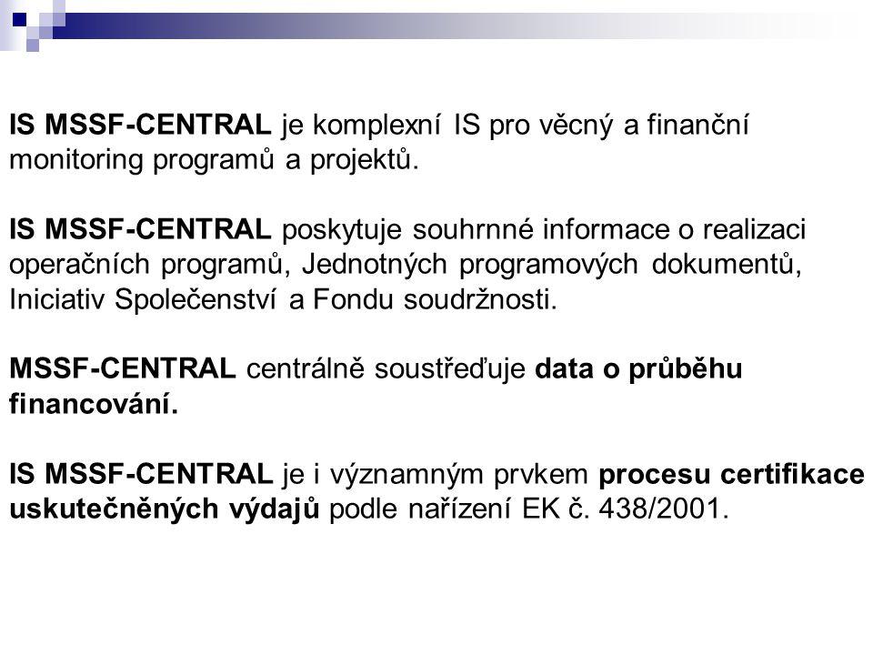 IS MSSF-CENTRAL je komplexní IS pro věcný a finanční monitoring programů a projektů. IS MSSF-CENTRAL poskytuje souhrnné informace o realizaci operační