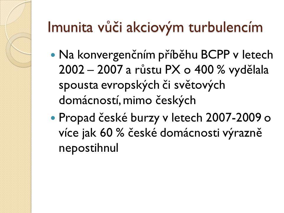 Imunita vůči akciovým turbulencím Na konvergenčním příběhu BCPP v letech 2002 – 2007 a růstu PX o 400 % vydělala spousta evropských či světových domácností, mimo českých Propad české burzy v letech 2007-2009 o více jak 60 % české domácnosti výrazně nepostihnul