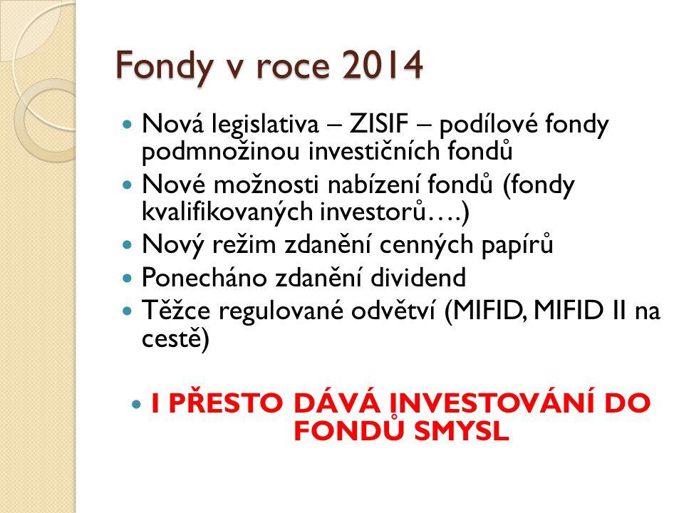 Fondy v roce 2014 Nová legislativa – ZISIF – podílové fondy podmnožinou investičních fondů Nové možnosti nabízení fondů (fondy kvalifikovaných investorů….) Nový režim zdanění cenných papírů Ponecháno zdanění dividend Těžce regulované odvětví (MIFID, MIFID II na cestě) I PŘESTO DÁVÁ INVESTOVÁNÍ DO FONDŮ SMYSL
